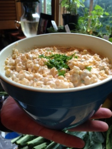 Yummy corn dip from Pinterest... Our girls ADORED IT.