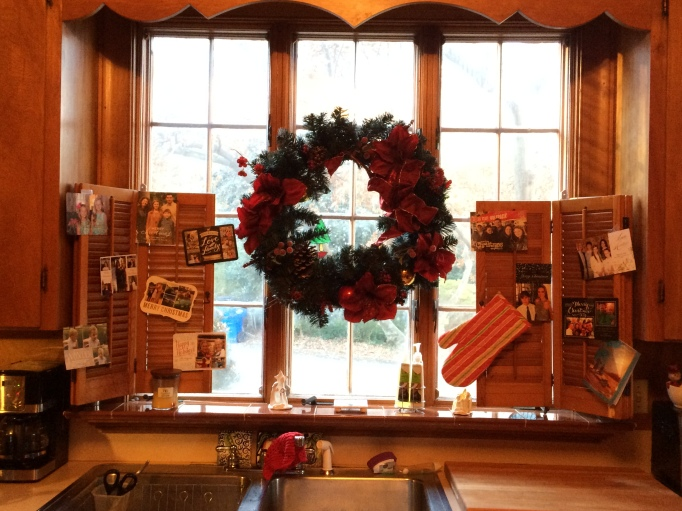 Kitchen window with new Christmas cards!