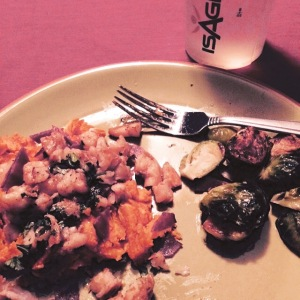 Spicy shrimp on a sweet potato with brussels sprouts! I love planning my meals!!!